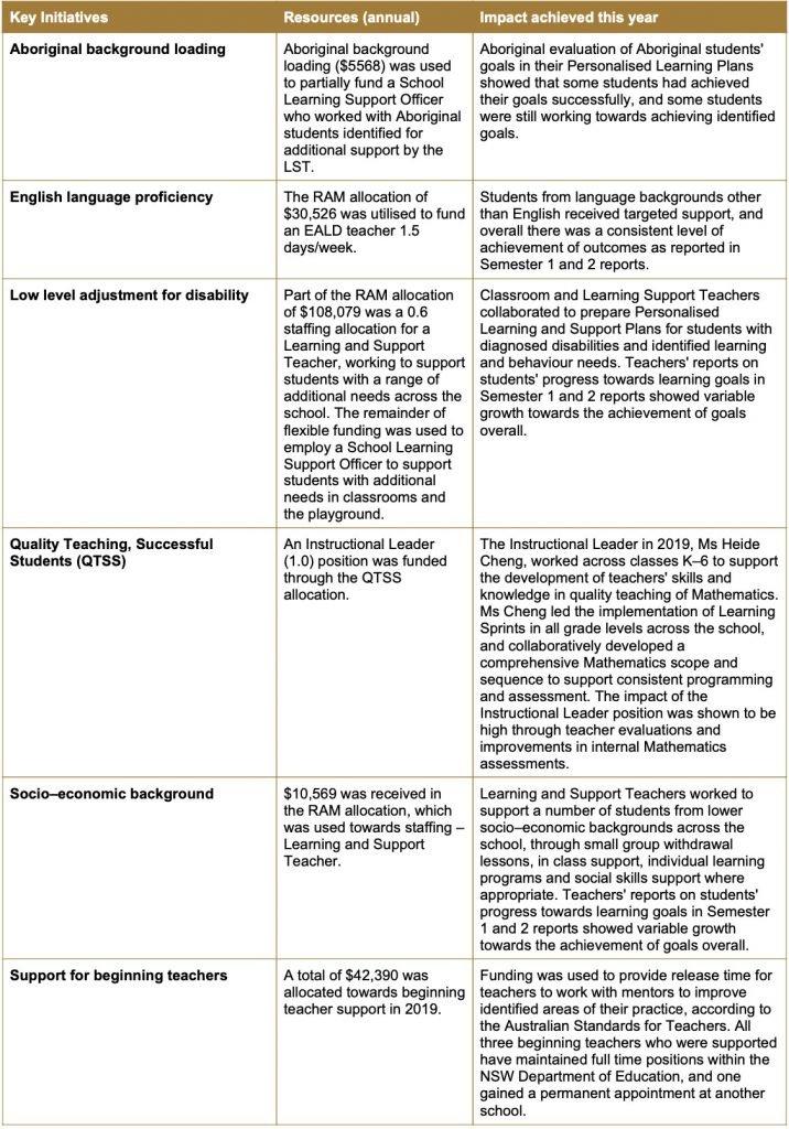 Stanmore Public School Key Initiatives